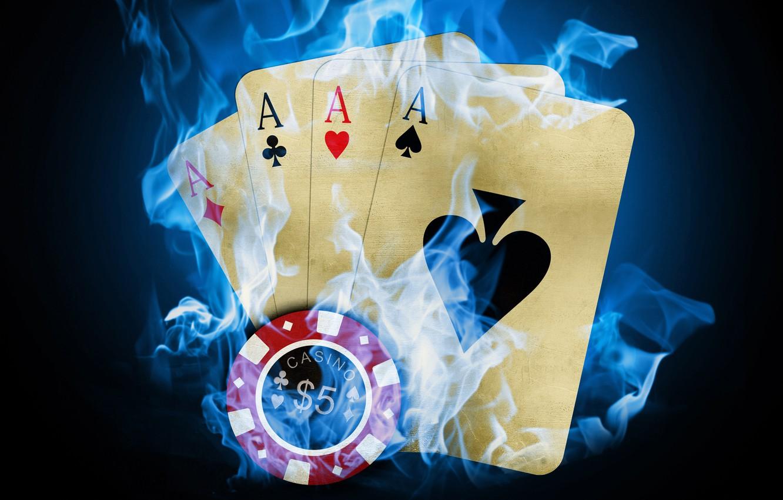 Photo wallpaper card, fire, poker, casino, the trick