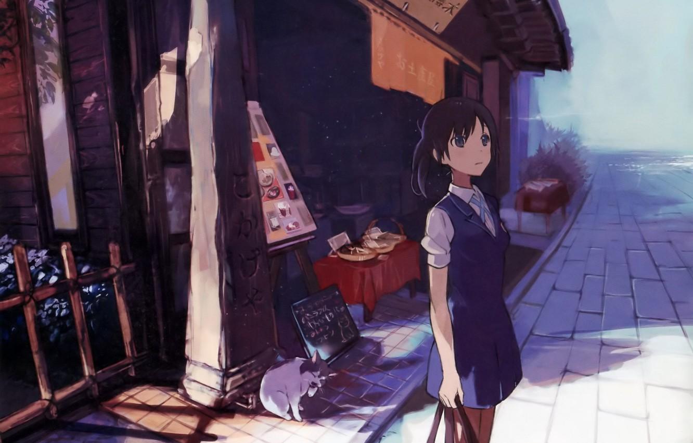 Photo wallpaper street, pavers, Japan, sign, schoolgirl, shop, art, porridge, Dora, Agriculture, Agriculture, Wakana Sakai, Both, Tanu