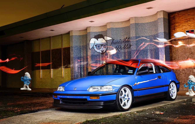 Photo wallpaper tuning, sport, honda, japan, Honda, blue, jdm, tuning, civic, coupe, low, stance, crx