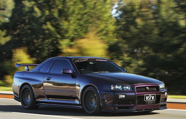 Photo wallpaper speed, Nissan, GT-R, Nissan, Skyline, front, R34, skyline