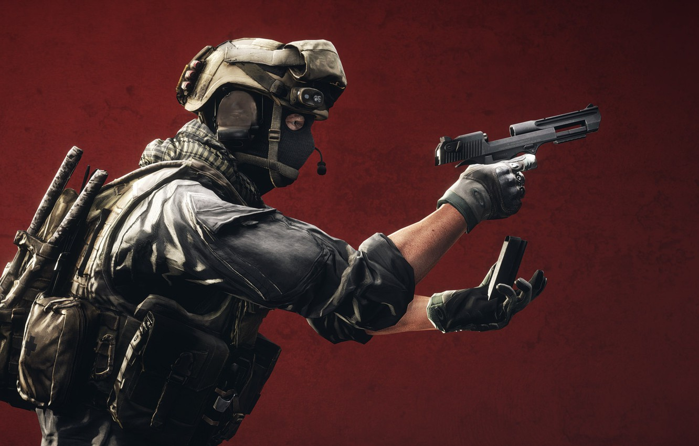Photo wallpaper gun, background, soldiers, equipment, clip, Battlefield 4