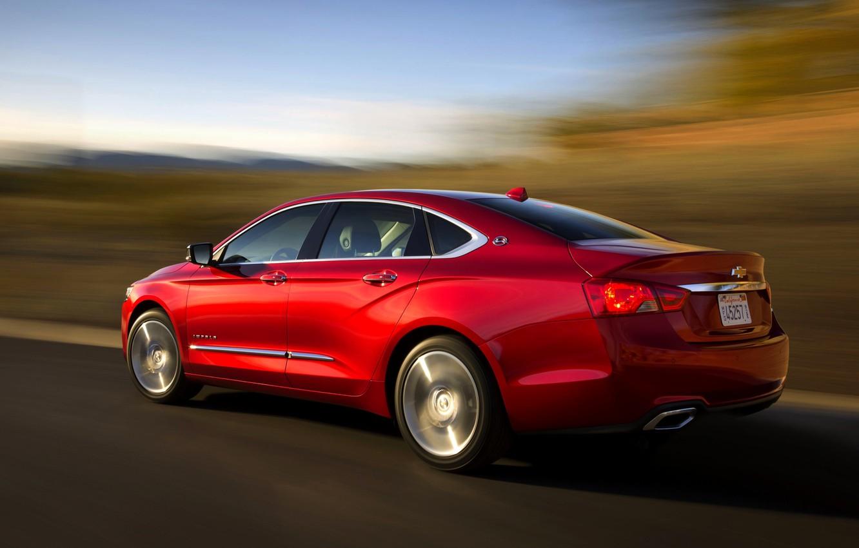 Photo wallpaper Red, Chevrolet, Wheel, Case, Sedan, Car, Impala, In Motion