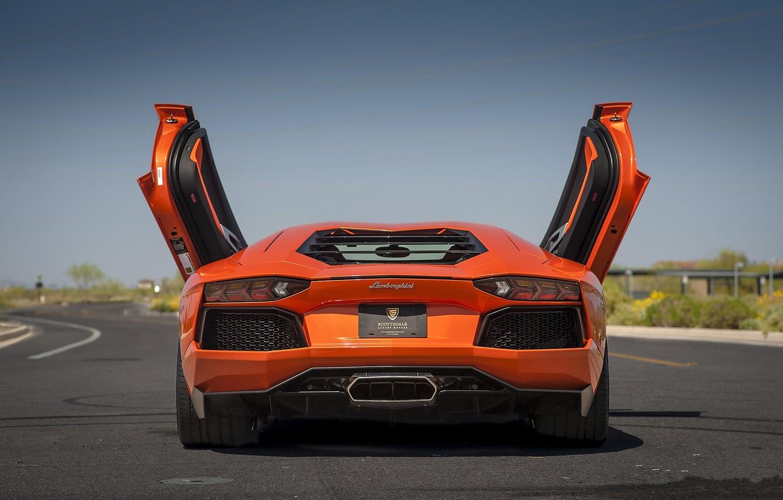 Photo wallpaper orange, shadow, lamborghini, orange, back, aventador, lp700-4, Lamborghini, aventador, doors