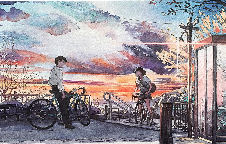 Wallpaper Bike The City Meeting Japan Watercolor Images For Desktop Section Zhivopis Download
