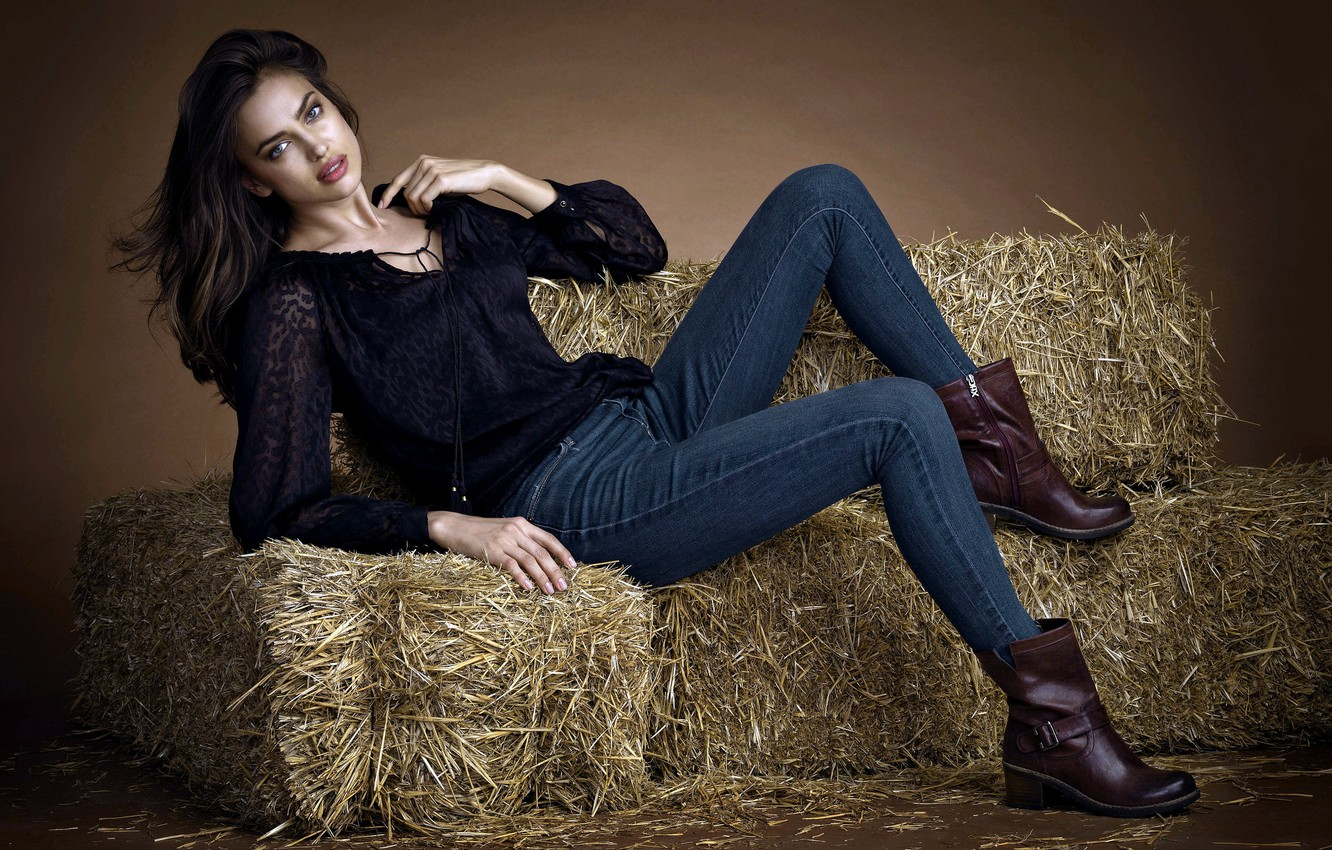 Photo wallpaper girl, model, jeans, boots, hay, Irina Shayk, brown hair, Sheik, Irina Shayk, Irina Shaykhlislamova