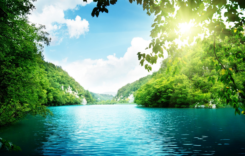 Photo wallpaper sea, the sky, clouds, trees, landscape, Lake, sky, trees, sea, landscape, clouds, lake, sunlight, beautiful …