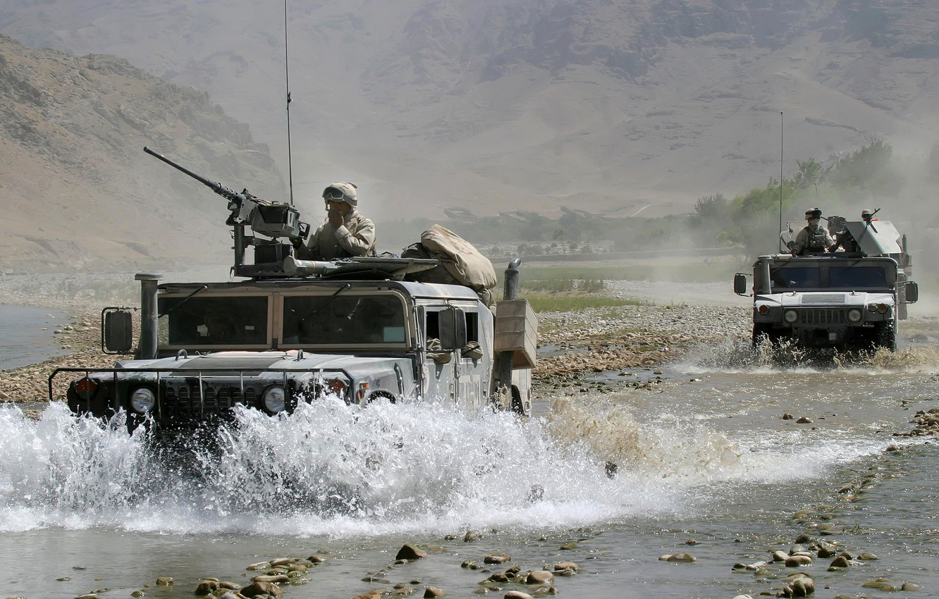 Photo wallpaper mountains, river, stones, Hammer, soldiers, USA, cars, army, Afghanistan, guns, army, contingent