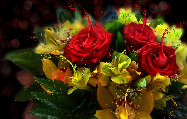 Photo wallpaper light, style, paint, bouquet, Roses, leaves