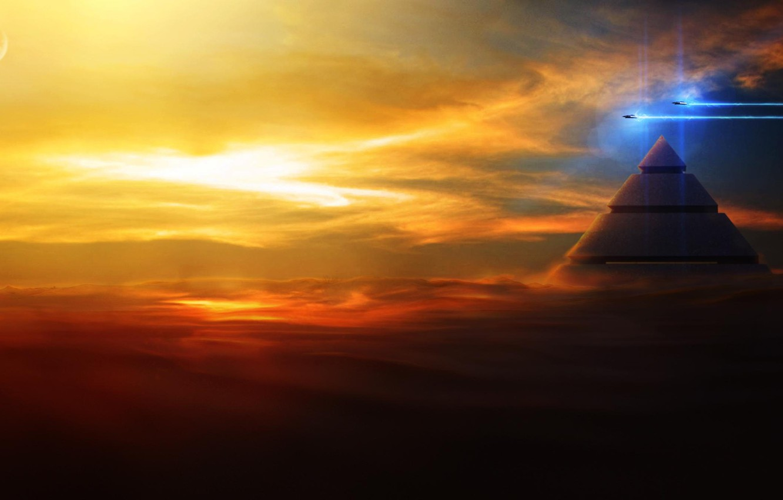 Photo wallpaper sky, Shuttle, pyramid, Spaсe