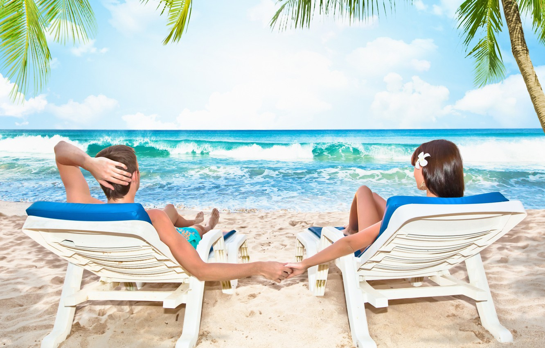 Photo wallpaper sea, women, beach, the sky, clouds, love, nature, men