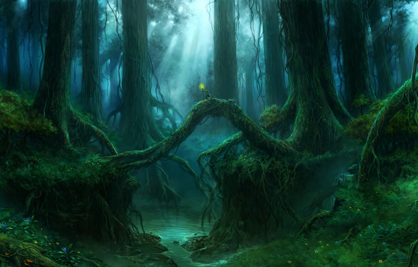 Photo wallpaper forest, trees, roots, stream, people, thicket, art, torch, giant