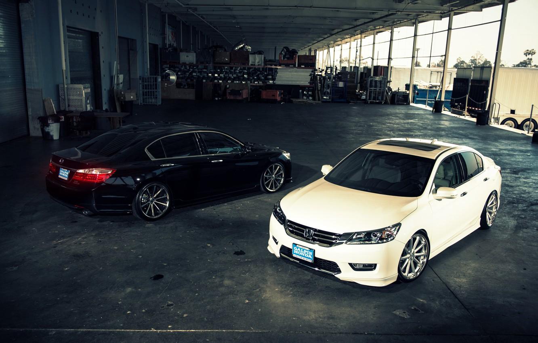 Photo wallpaper white, wheels, Honda, Accord, black, Honda, Galpin, wossen