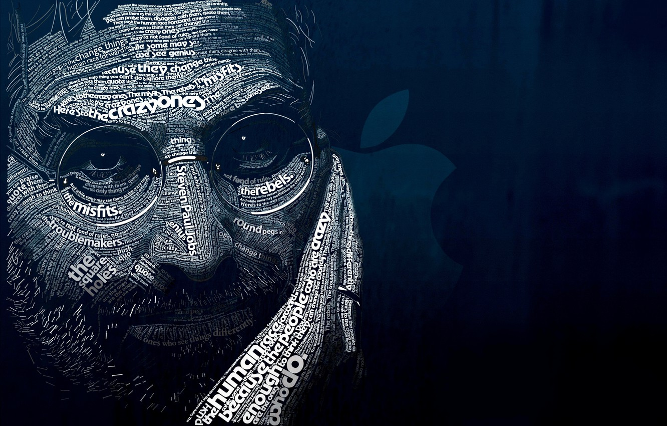 Photo wallpaper blue, letters, background, dark, ipod, apple, male, iphone, black, words, quotes, background, words, man, ipad, …