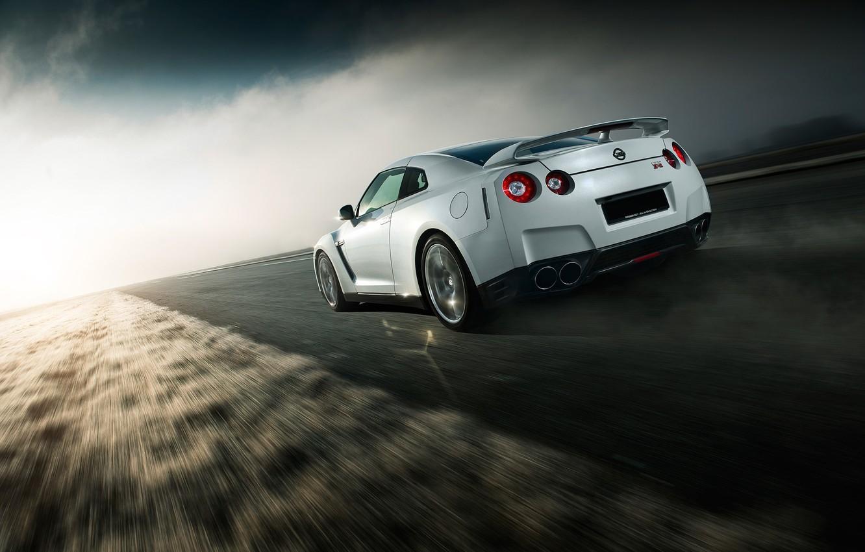 Photo wallpaper GTR, Nissan, Car, Speed, White, Norway, R35, Sport, Road, Rear