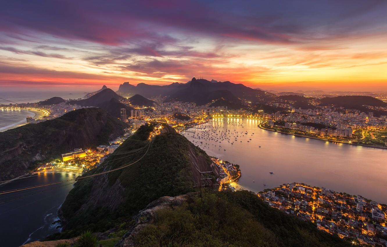 Photo wallpaper the city, lights, the evening, Brazil, Rio de Janeiro