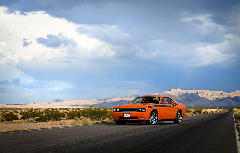 Photo wallpaper road, the sky, clouds, hills, desert, lights, wheel, Dodge, Challenger