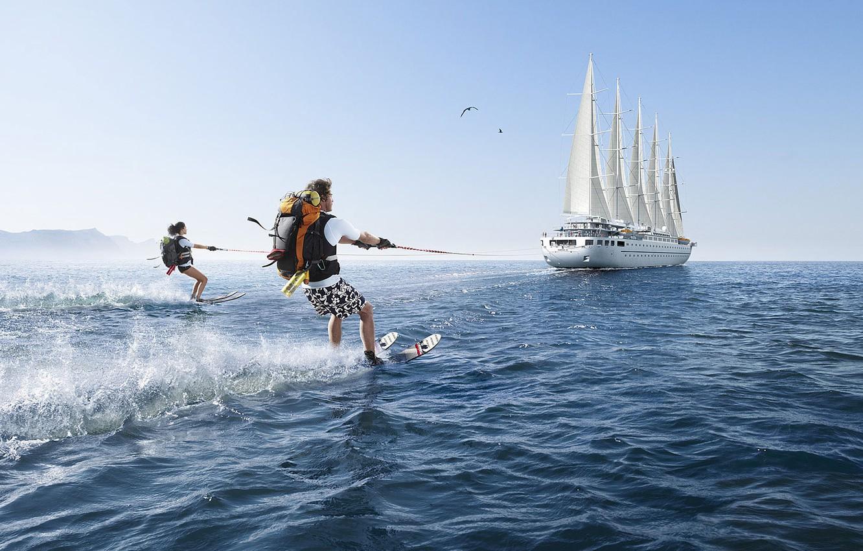 Photo wallpaper fantasy, sailboat, Romain Laurent, Hiking, water skiing