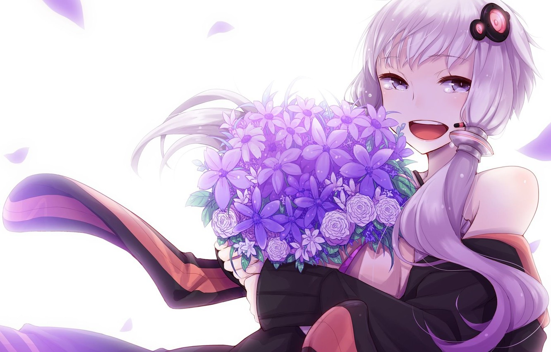 Photo wallpaper girl, flowers, smile, bouquet, anime, petals, tears, art, microphone, vocaloid, Vocaloid, Yuzuki Up