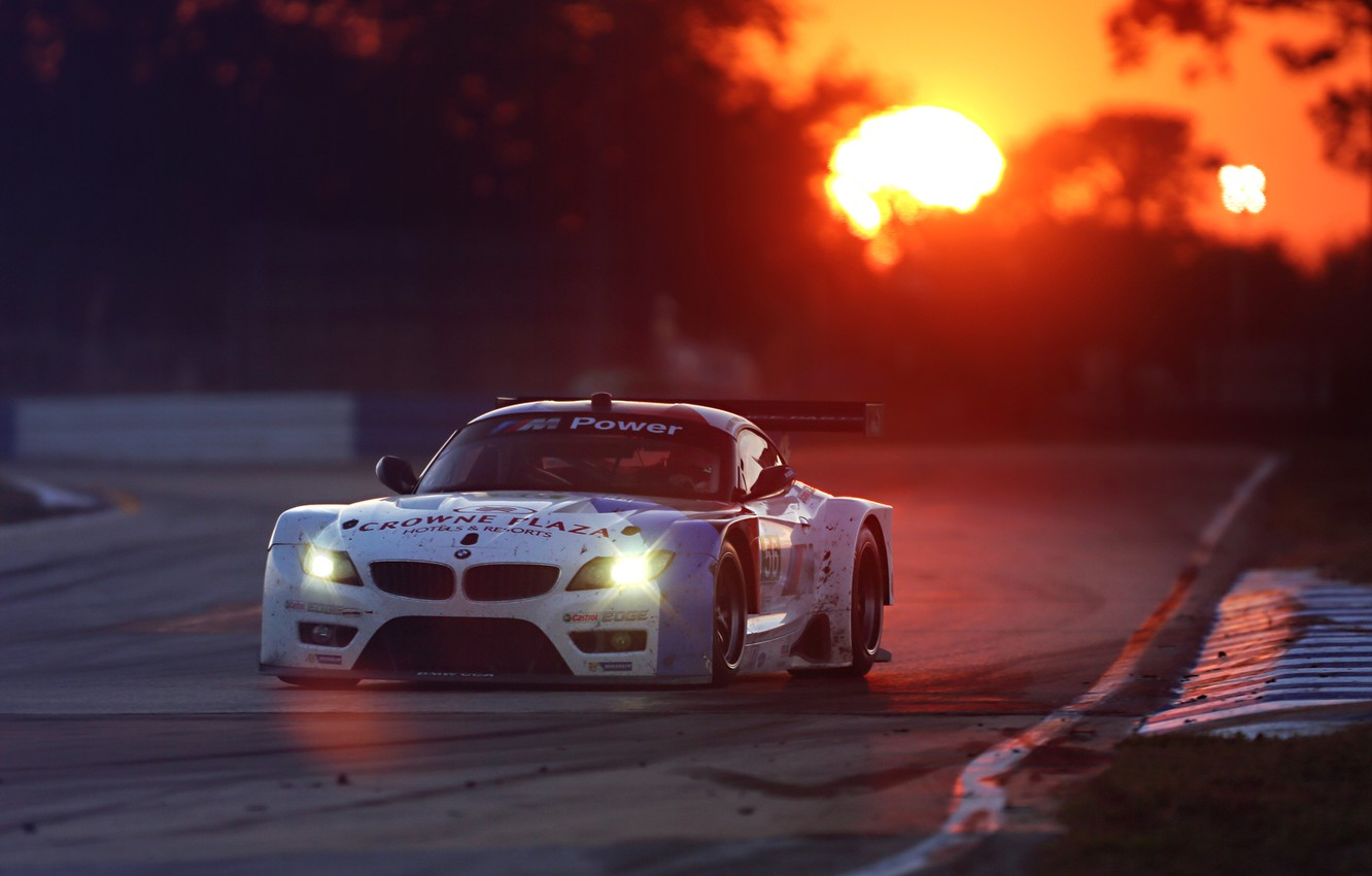 Photo wallpaper The Mans, BMW, Race, Glow, Sunset, White, Team, Performance, GTE, Competition, Track, Spoiler, Widebody Kit, …