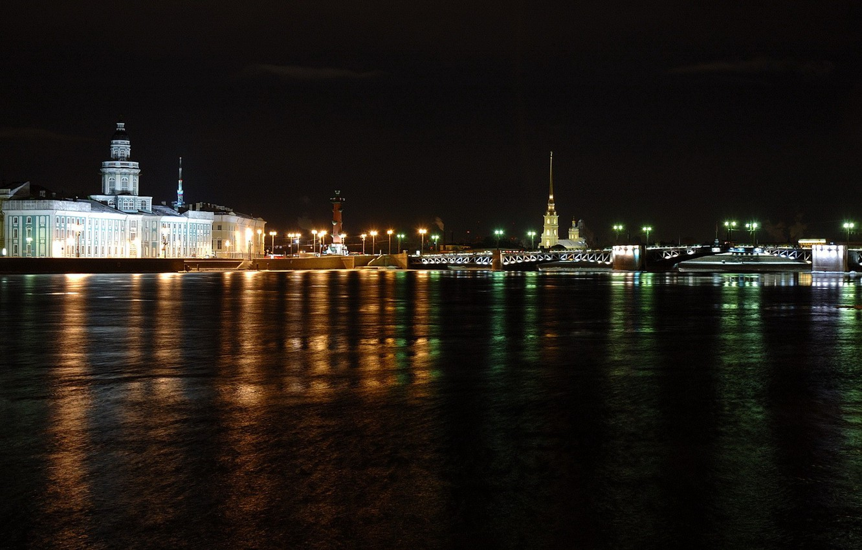 Photo wallpaper night, bridge, Peter, Saint Petersburg