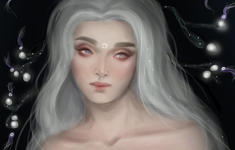 Photo wallpaper girl, hair, art, white, Saphalia