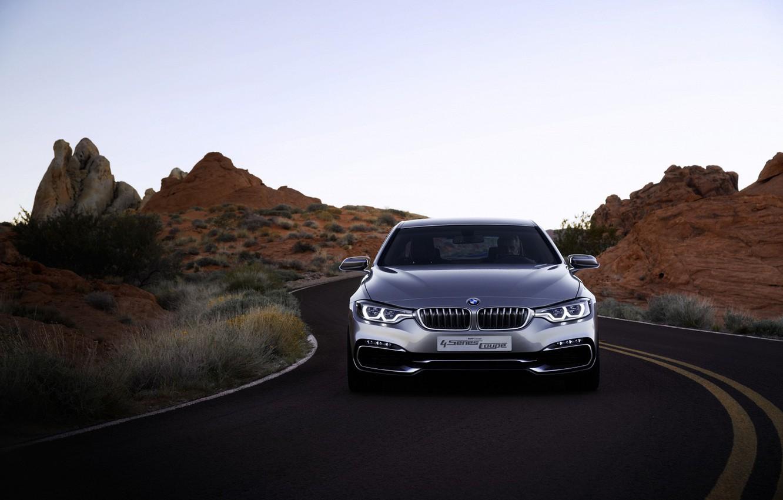 Photo wallpaper BMW, sedan, gray, 4series