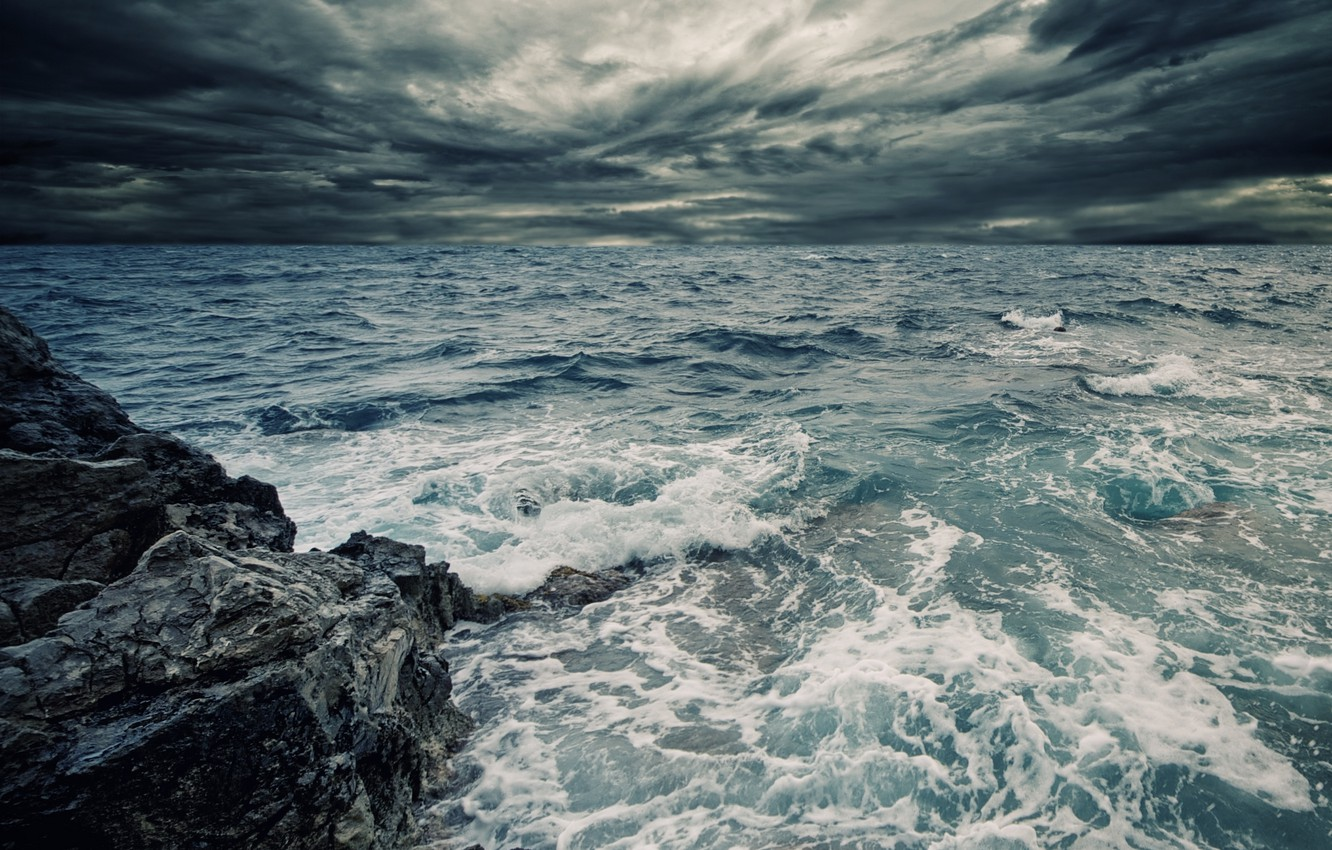 Photo wallpaper sea, wave, the sky, water, squirt, clouds, rock, overcast, the ocean
