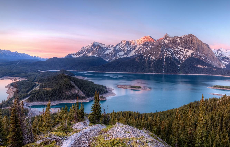 Photo wallpaper trees, landscape, mountains, nature, lake, Canada, Kananaskis Lakes
