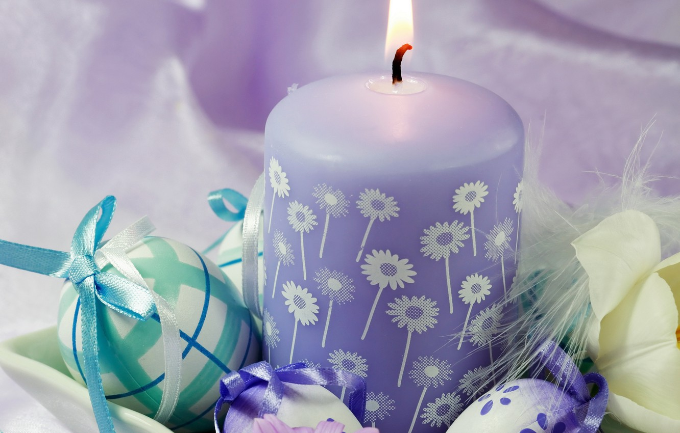 Photo wallpaper flowers, holiday, candle, eggs, fluff, Easter, Easter