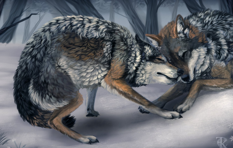 Photo wallpaper winter, animals, trees, game, art, wolves, wild