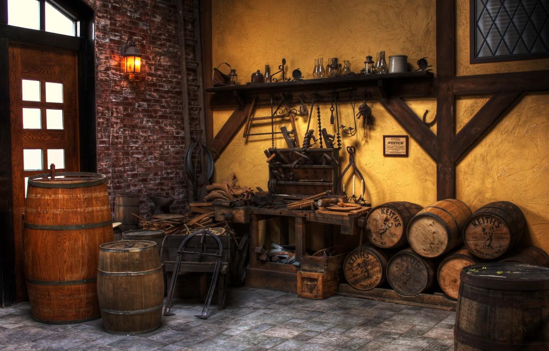 Photo wallpaper tool, workshop, barrels