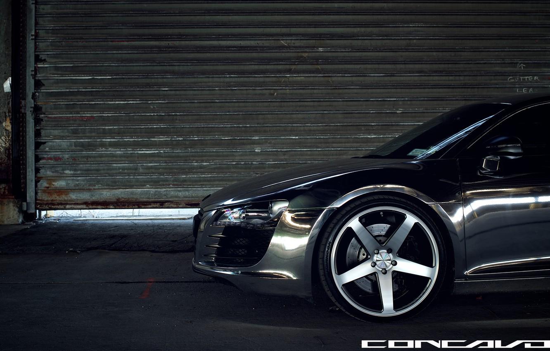 Photo wallpaper Audi, optics, bumper, Chrome, CW-5, Concavo Wheels, Matte Black Machined Face