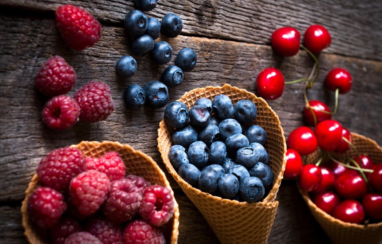Photo wallpaper berries, raspberry, blueberries, strawberry, fresh, cherry, berries