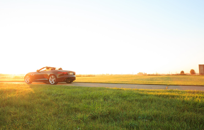 Photo wallpaper car, grass, Jaguar, Jaguar, grass, car, Convertible, F-type, V8 S