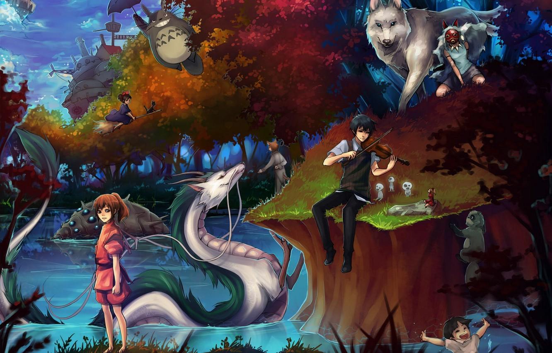 Photo wallpaper girls, anime, art, guy, Princess Mononoke, my neighbor Totoro, totoro, spirited away, tonari no totoro, …