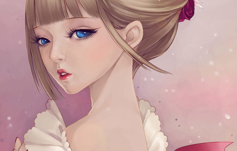 Photo wallpaper girl, face, tenderness, art, ruffles, dong xiao