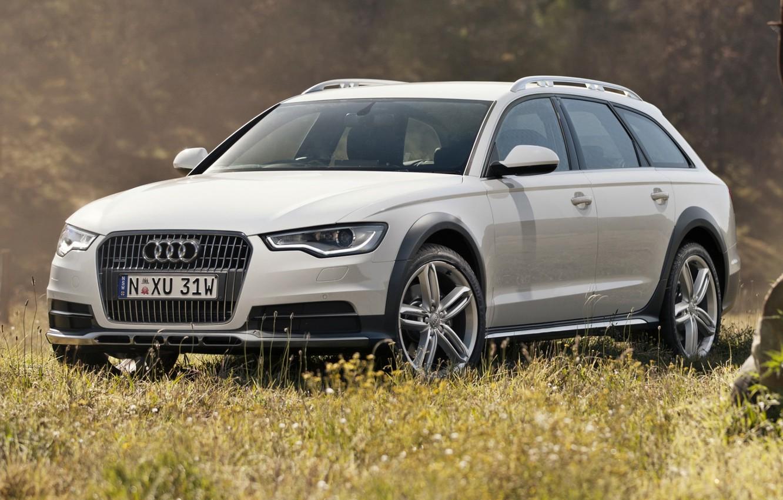 Photo wallpaper white, background, Audi, Audi, TDI, Allroad, quattro, universal, 3.0, Quattro, the front.grass, Allroad