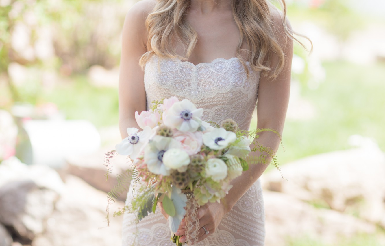 Photo wallpaper girl, flowers, bouquet, dress, the bride, wedding