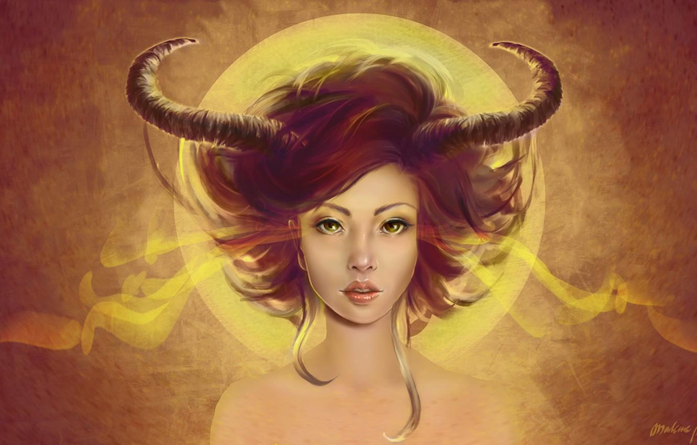 Photo wallpaper look, art, horns, demoness
