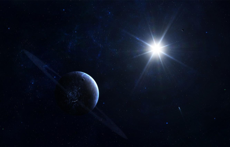 Photo wallpaper space, star, planet, stars, ring, space, Blik