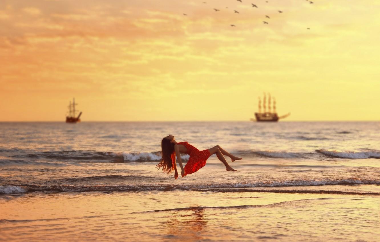 Photo wallpaper Girl, Red, Water, Ocean, Sea, Dress, Over, Levitation