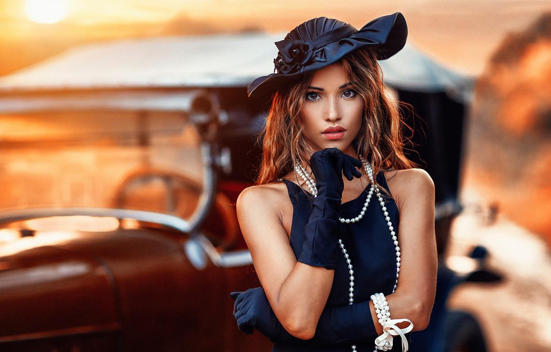 Photo wallpaper girl, retro, hat, makeup, dress, hairstyle, gloves, beads, brown hair, beauty, car, bokeh, Alessandro Di …