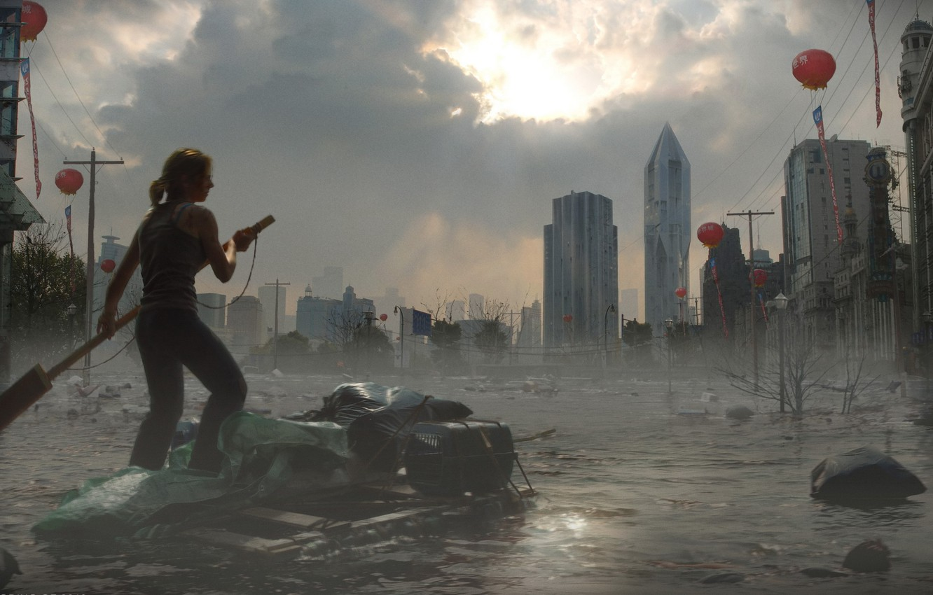 Photo wallpaper the sky, water, girl, the city, building, the raft, Global flood