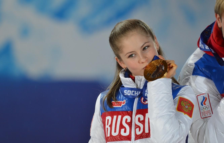 Photo wallpaper figure skating, Olympics, medal, Russia, Sochi, 2014, Yulia Lipnitskaya