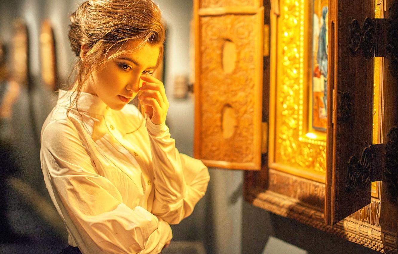 Photo wallpaper girl, icon, prayer, repentance