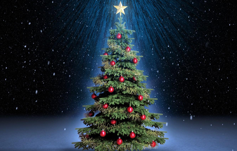 Photo wallpaper rays, snow, night, holiday, balls, magic, star, tree, spruce, red, tree, magic, Christmas, snow, New …