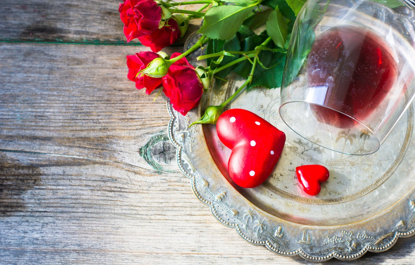 Photo wallpaper flowers, holiday, wine, heart, glass, roses, tray, dish