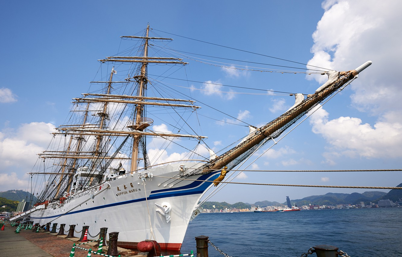 Photo wallpaper sailboat, Japan, pier, Japan, Museum, Yokohama, Yokohama, Yokohama Maritime Museum, Nippon Maru