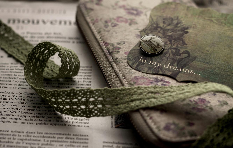 Photo wallpaper lightning, newspaper, fabric, green, vintage, case, bookmark, button