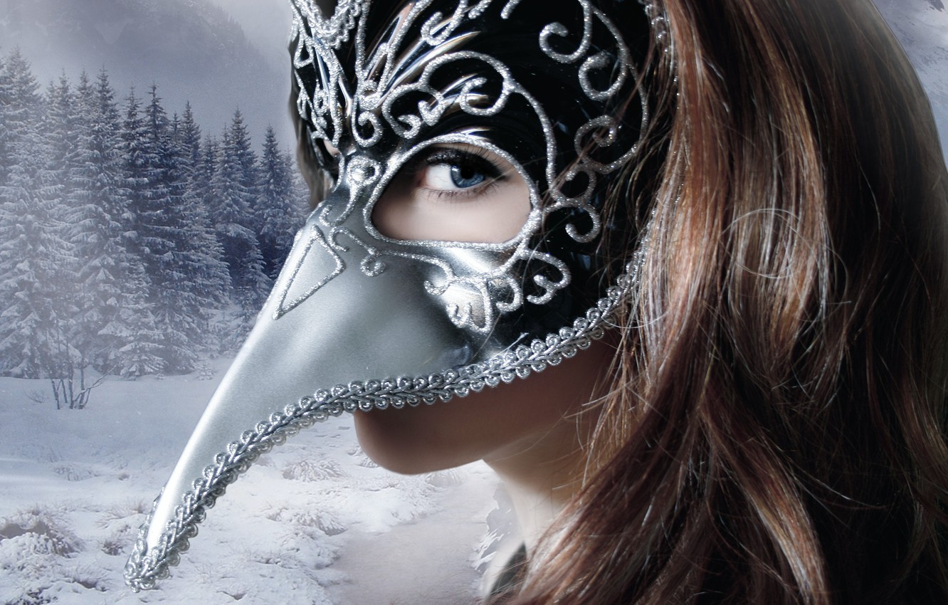 Photo wallpaper winter, look, girl, snow, trees, face, background, hair, mask